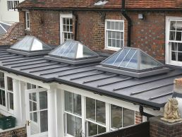 flat roof memberane with cupola windows
