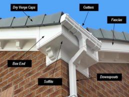 Roofline components including fascia, soffits, gutters, bargeboard, box end and downpipe